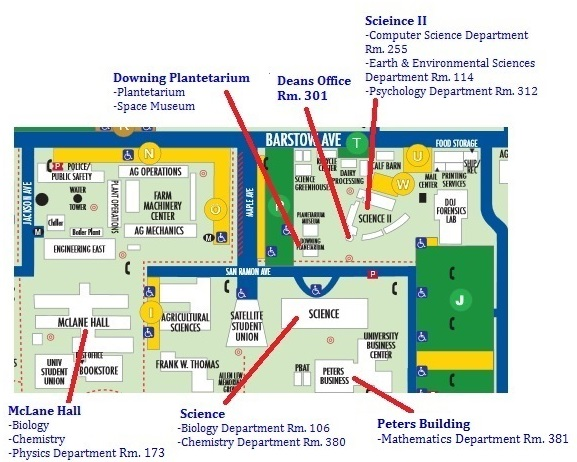 Map of the Fresno State Campus showing the locations of the buildings of the CSM