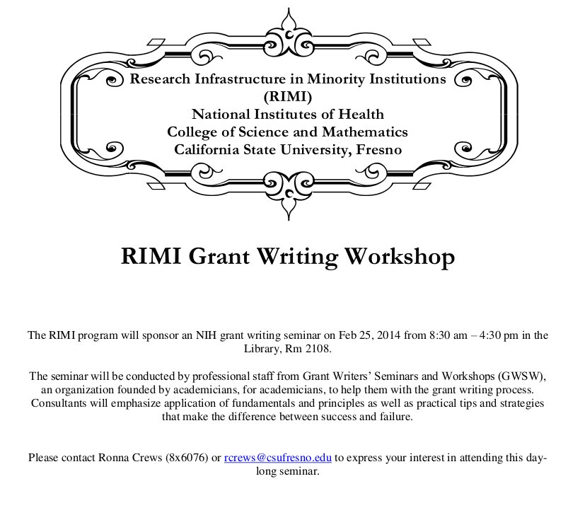 RIMI Grant Writing Workshop Flyer