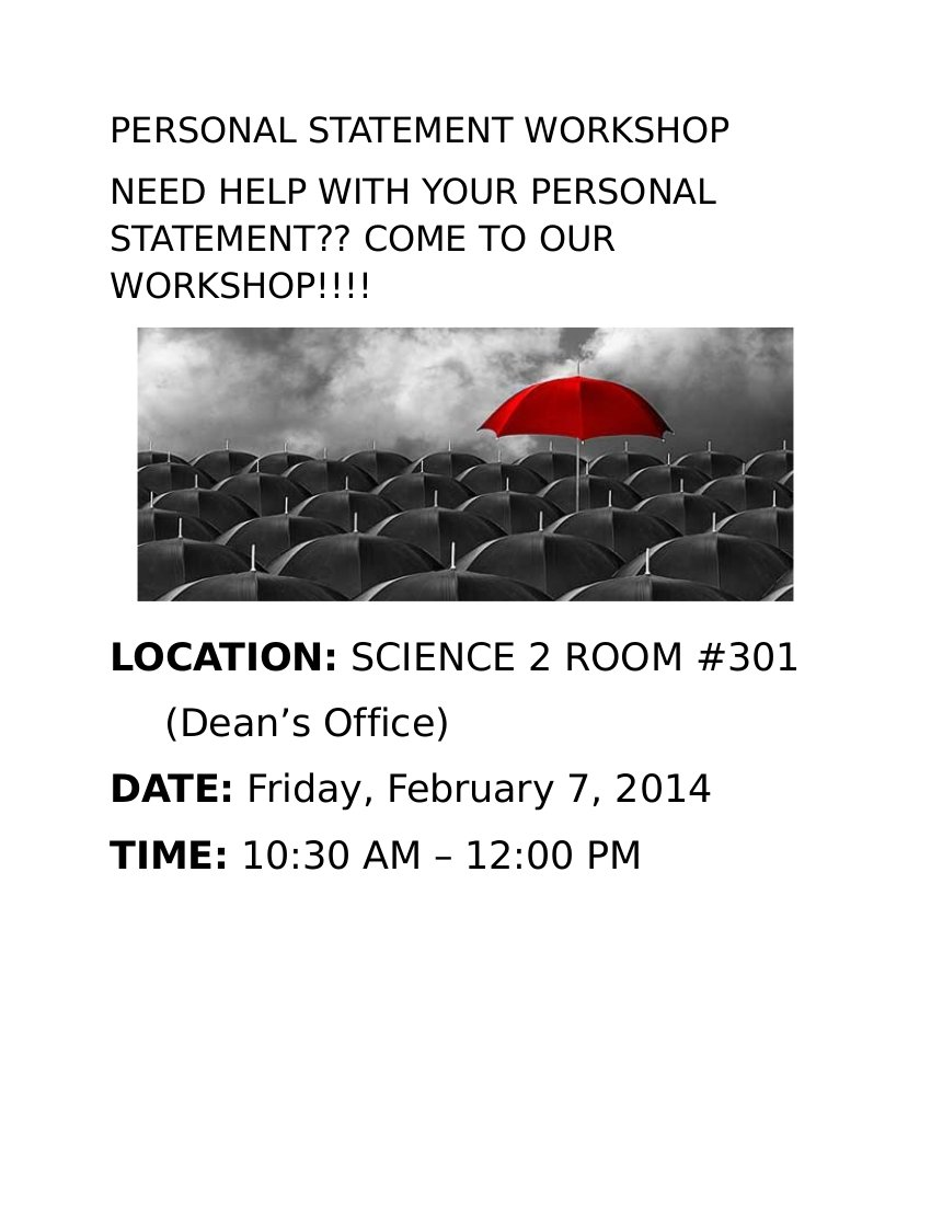 Personal Statement Workshop Flyer